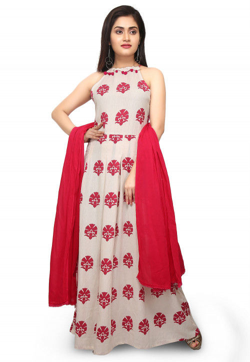 Printed Cotton Abaya Style Suit in Off White