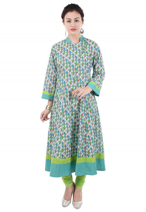 Printed Cotton Anarkali Kurta in Multicolor