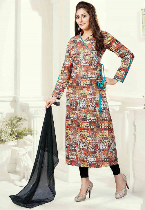 Printed Cotton Angrakha Style Suit in Multicolor