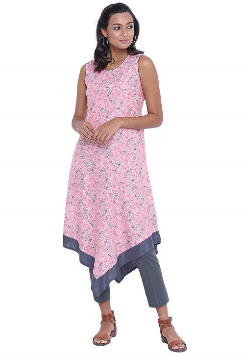 Printed Cotton Asymmetric Tunic in Pink