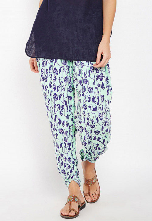 Printed Cotton Dhoti Pant in Sea Green