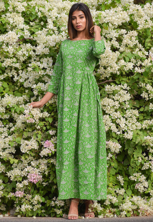 Printed Cotton Dress in Green
