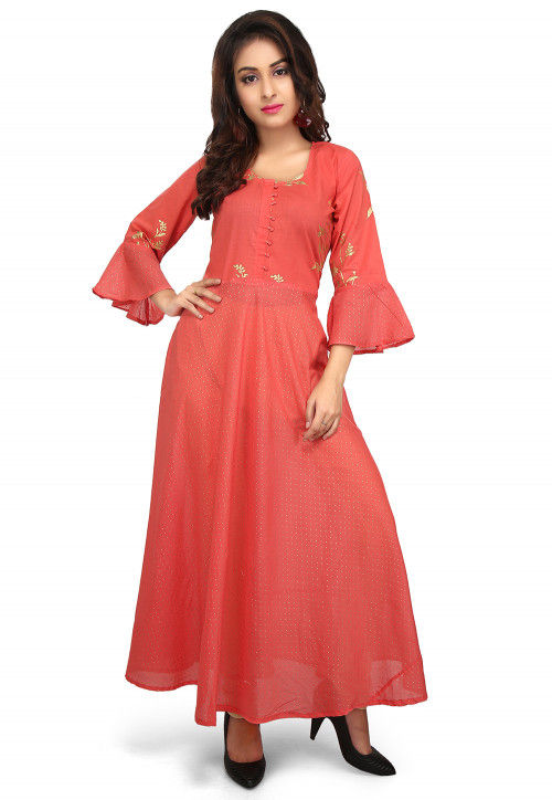 Printed Cotton Flared Kurta in Coral Red