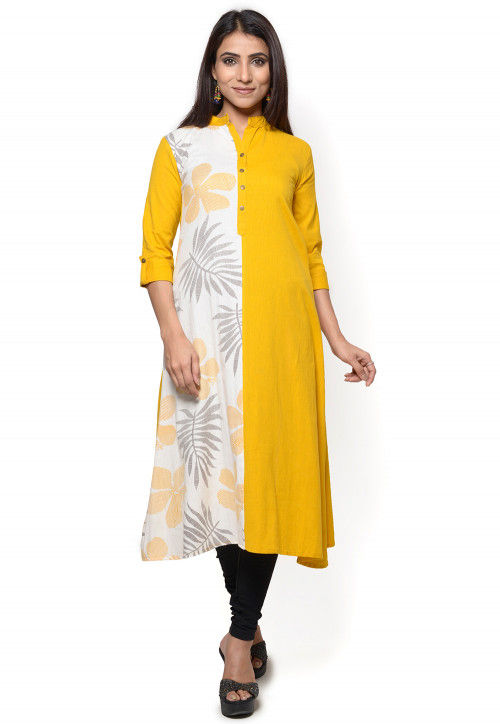 Printed Cotton Flex A Line Kurta in Yellow and Off White