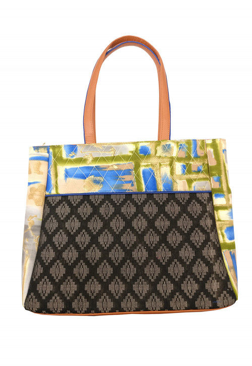 Printed Cotton Jacquard Hand Bag in Black and Multicolor