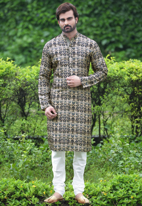 Printed Cotton Kurta Set in Black and Beige