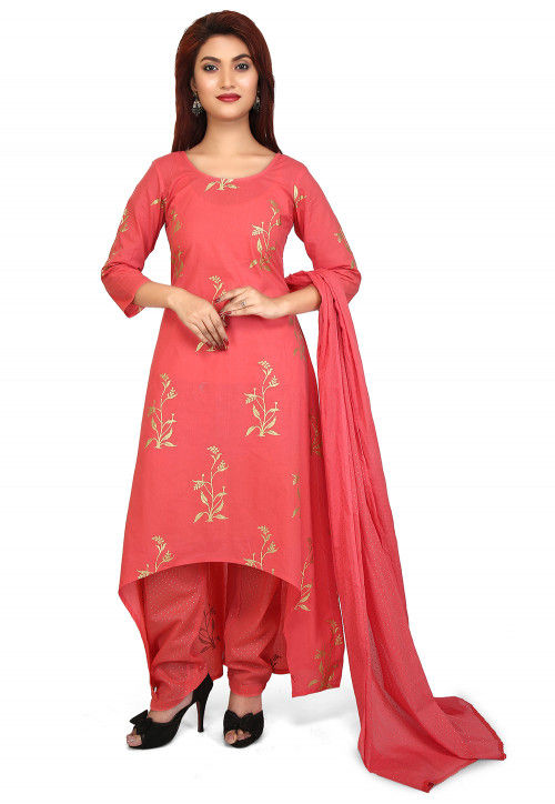 Printed Cotton Pakistani Suit in Coral Red