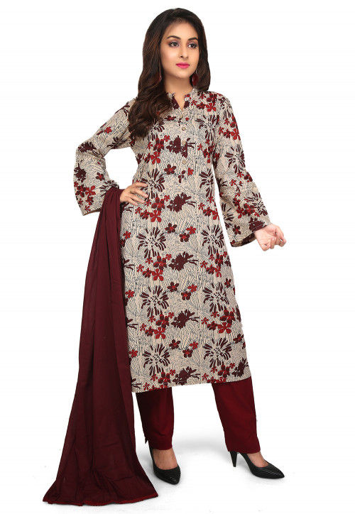 Printed Cotton Pakistani Suit in Light Beige and Multicolor