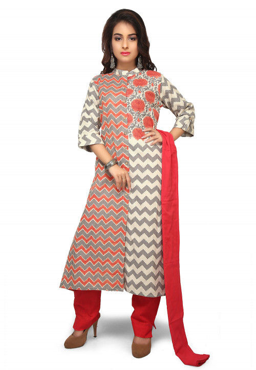 Printed Cotton Pakistani Suit in Off White and Grey