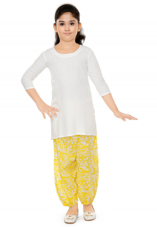 Printed Cotton Rayon Kurti Set in Off White