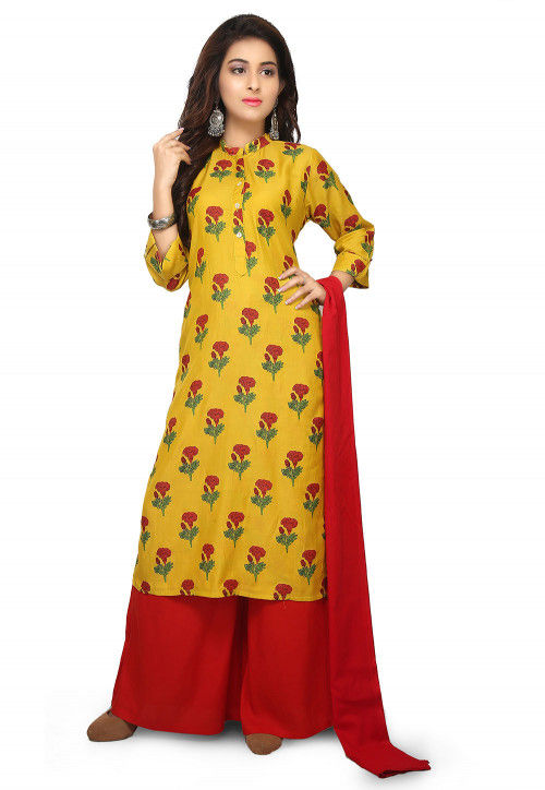 Printed Cotton Satin Pakistani Suit in Yellow