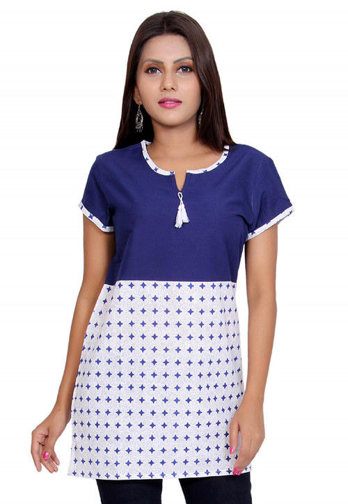 Printed Cotton Short Kurti in Blue and White