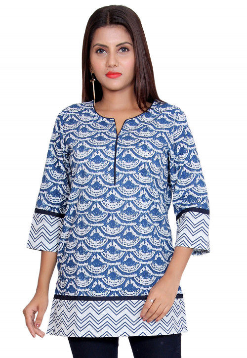 Printed Cotton Short Kurti in Light Blue