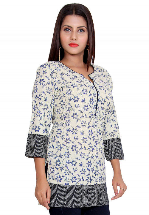 Printed Cotton Short Kurti in Off White