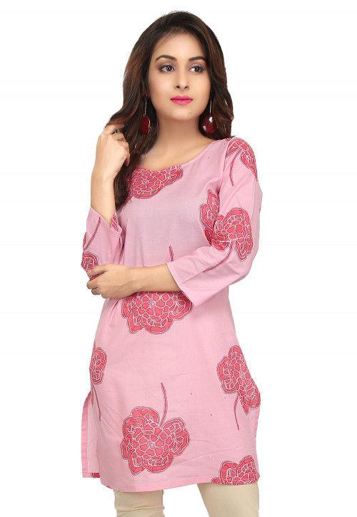 Printed Cotton Short Kurti in Pink