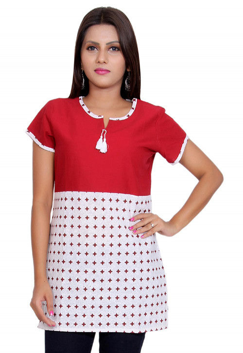 Printed Cotton Short Kurti in Red and White