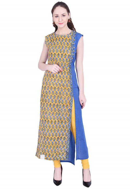 Printed Cotton Side Slit Straight Kurta in Yellow and Blue