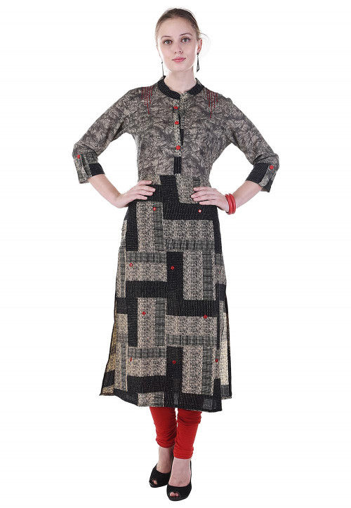 Printed Cotton Straight Kurta in Black and Beige