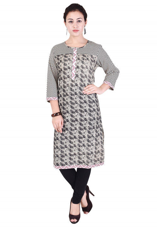 Printed Cotton Straight Kurta in Black and Off White