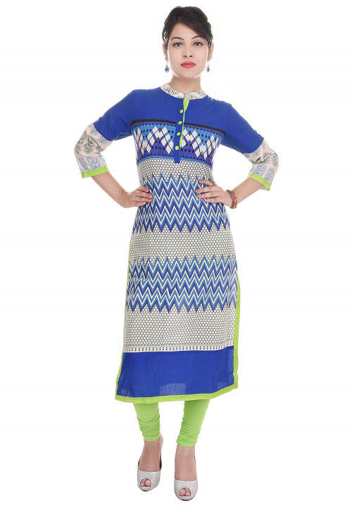 Printed Cotton Straight Kurta in Blue and Off White