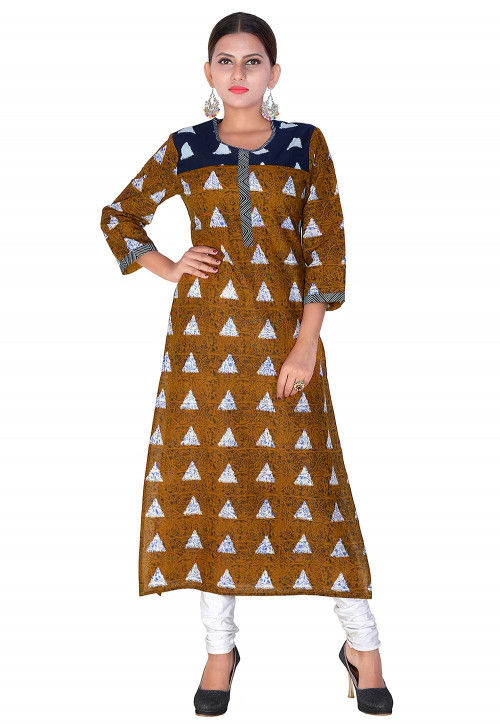 Printed Cotton Straight Kurta in Brown