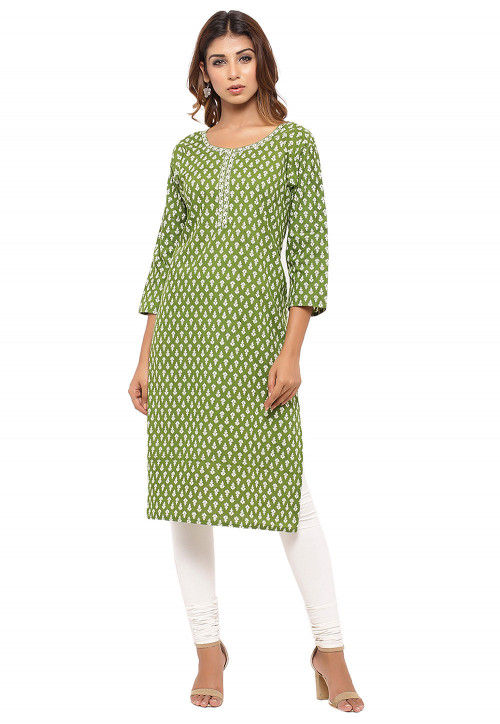 Printed Cotton Straight Kurta in Green