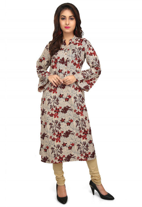 Printed Cotton Straight Kurta in Light Beige and Multicolor