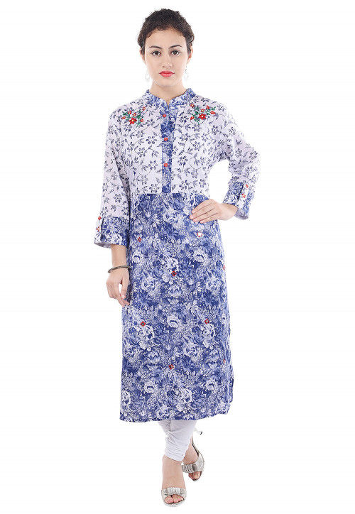 Printed Cotton Straight Kurta in Light Blue and Off White