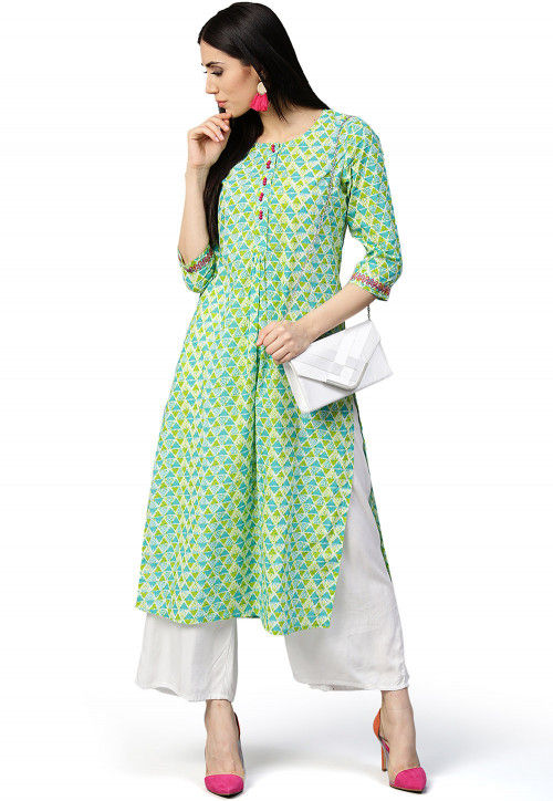 Printed Cotton Straight Kurta in Light Green