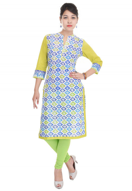 Printed Cotton Straight Kurta in Multicolor
