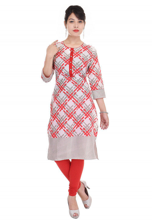 Printed Cotton Straight Kurta in Off White