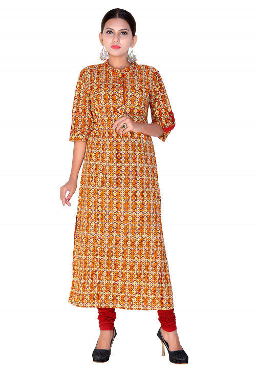 Printed Cotton Straight Kurta in Peach