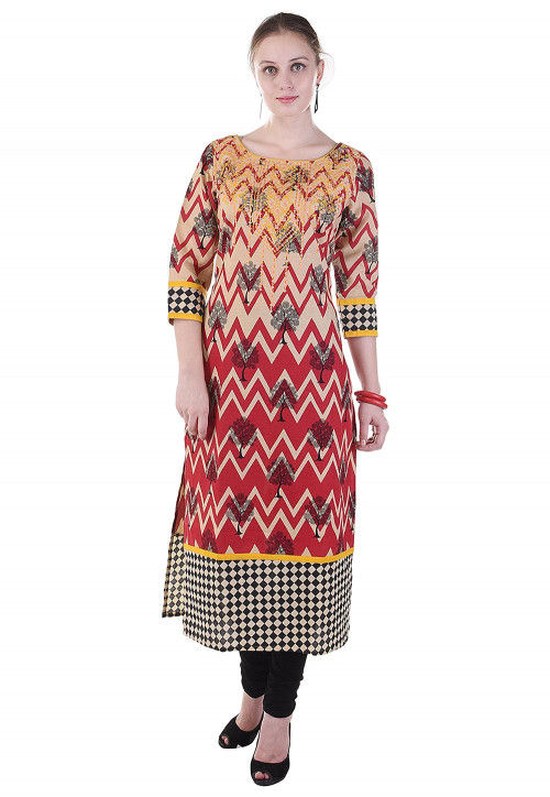 Printed Cotton Straight Kurta in Red and Beige