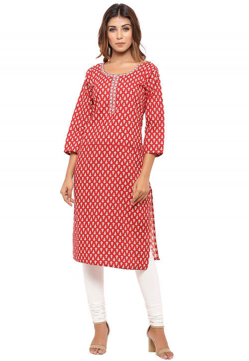 Printed Cotton Straight Kurta in Red