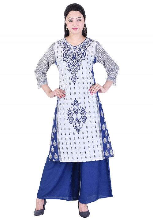 Printed Cotton Straight Kurta in White and Blue