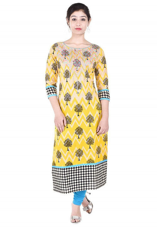 Printed Cotton Straight Kurta in Yellow and Beige