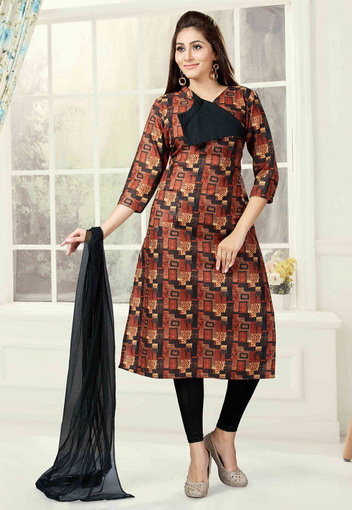 Printed Cotton Straight Suit in Brown and Multicolor