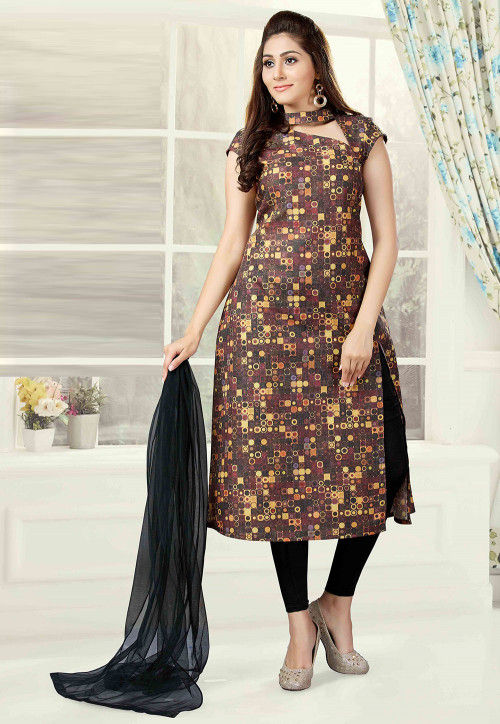 Printed Cotton Straight Suit in Brown