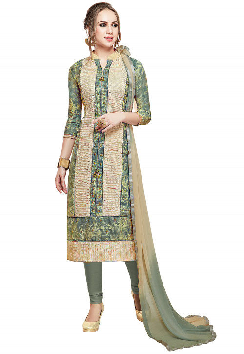 Printed Cotton Straight Suit in Dusty Green and Beige