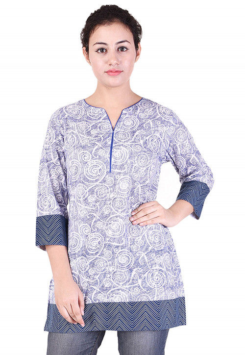 Printed Cotton Top in Lilac