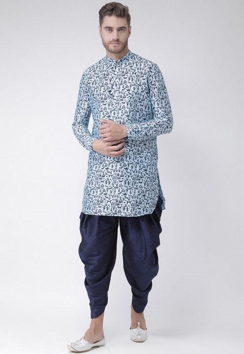 Printed Dupion Silk Dhoti Kurta in Light Blue