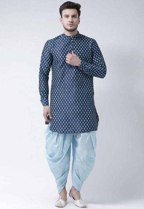 Printed Dupion Silk Dhoti Kurta in Navy Blue