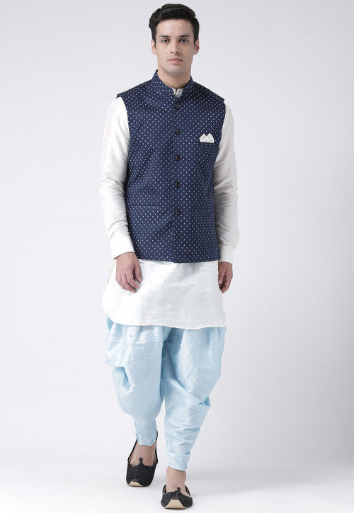 Printed  Dupion Silk Dhoti Kurta in Off White