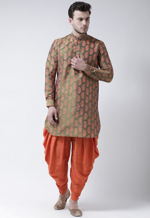 Printed Dupion Silk Dhoti Kurta in Olive Green