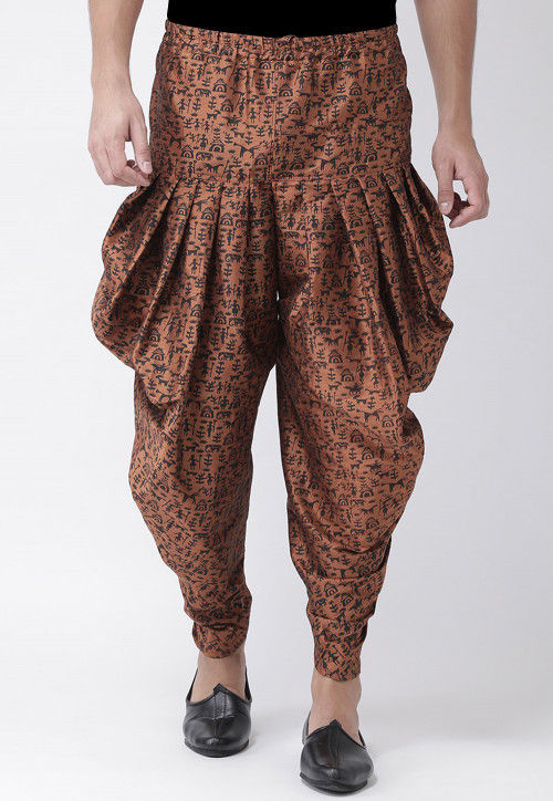 Printed Dupion Silk Dhoti Pant in Brown