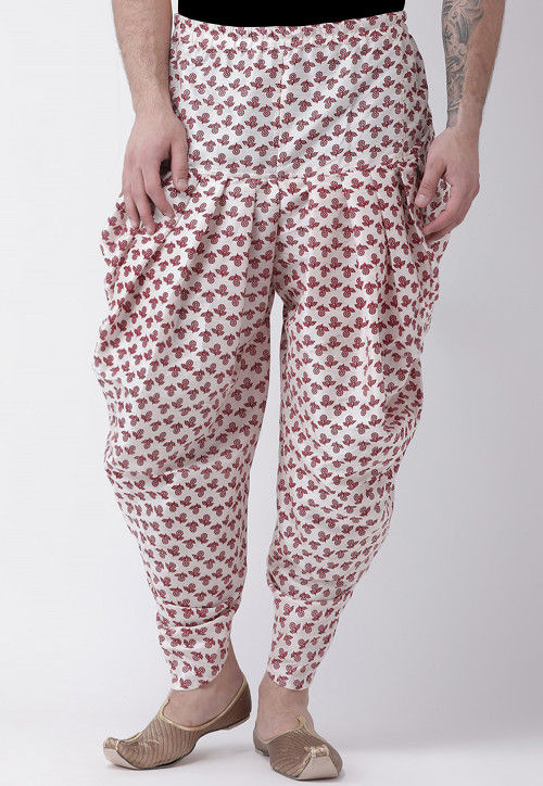 Printed Dupion Silk Dhoti Pant in Off White