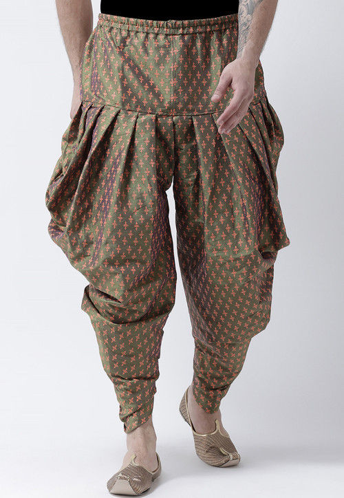 Printed Dupion Silk Dhoti Pant in Olive Green