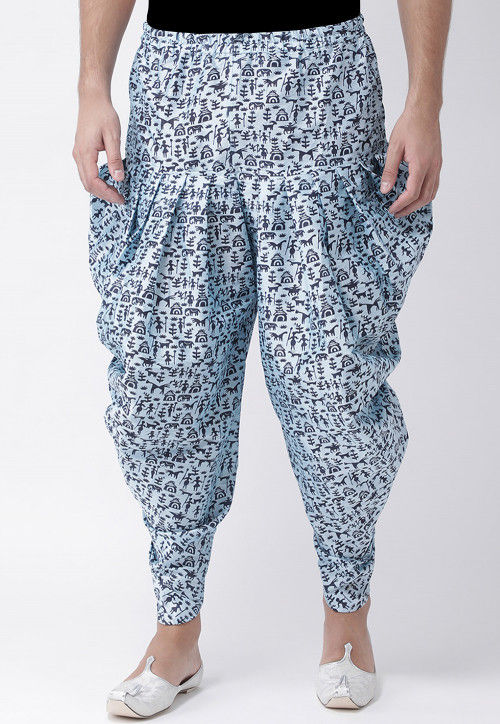 Printed Dupion Silk Dhoti Pant in Sky Blue