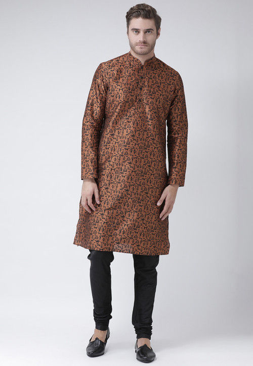 Printed Dupion Silk Kurta in Brown