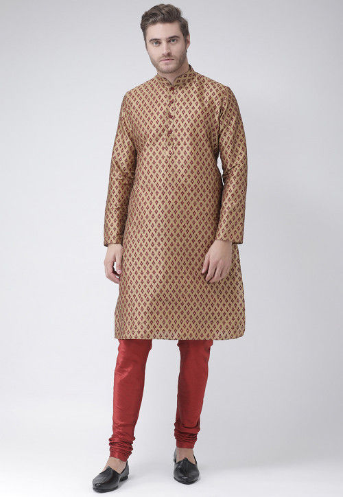 Printed Dupion Silk Kurta in Dark Beige